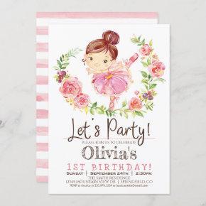 Ballerina Girl Pink Birthday Party Invitation