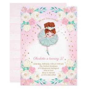 Ballerina Glitter Birthday Invitation