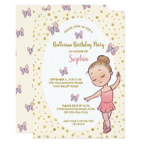 Ballerina Gold Sparkles Birthday Party Invitation