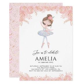Ballerina in White Dress Floral Birthday Invitation