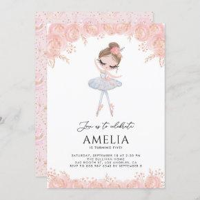 Ballerina in White Dress Floral Birthday Invitation