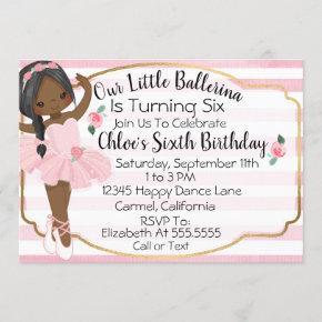 Ballerina Little Girl Pink Stripes Birthday Invitation