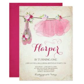 Ballerina Party Invitation Pink Tutu Ballet Shoes