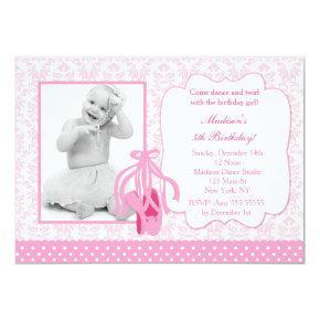 Ballerina Photo Birthday Invitation