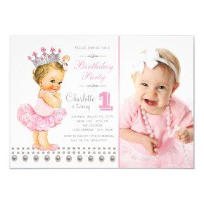 Ballerina Princess Pearl Girl Birthday Party Invitation