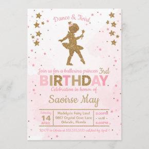 Ballerina Princess Sparkle Birthday Invitation