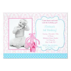 Ballerina Slippers Photo Birthday Party Invitation