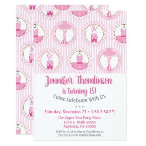Ballet Birthday Invitation Pink Ballerina Dancer
