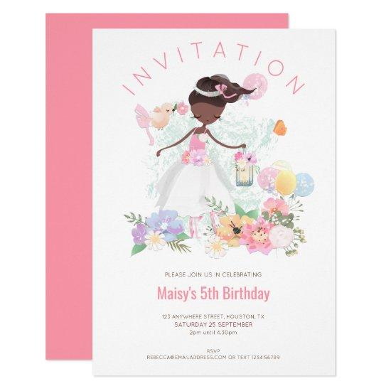 Ballet Dancer Flowers Pink Girl 5th Birthday Party Invitation