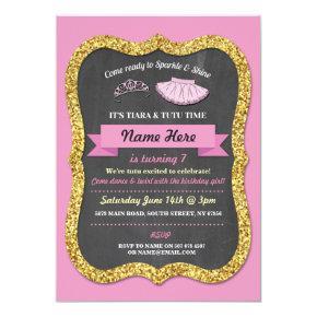 Ballet Tiara Tutu Pink Gold Glitter Birthday Party Invitation