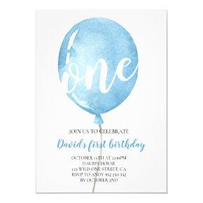 Balloon Baby Boy 1st Birthday Invitation