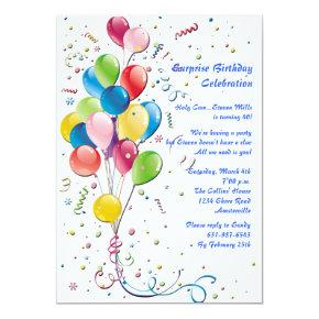 Balloon Bouquet Surprise Party Invitations