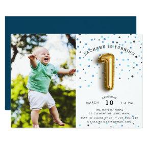 Balloon Type | Photo First Birthday Party Invite