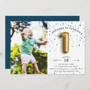 Balloon Type | Photo First Birthday Party Invite