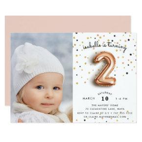 Balloon Type | Photo Second Birthday Party Invite