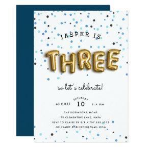 Balloon Type | Third Birthday Party Invitation