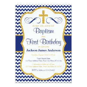 Baptism and First Birthday Invitation for Boys