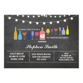 Bar Cheers Birthday Party Cocktails Chalk Invite