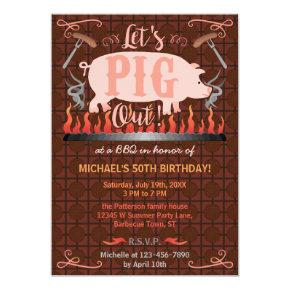 Barbecue BBQ Funny Pig Summer Birthday Party Invitations