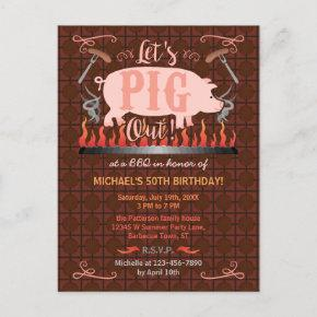 Barbecue BBQ Funny Pig Summer Birthday Party Invitation Post
