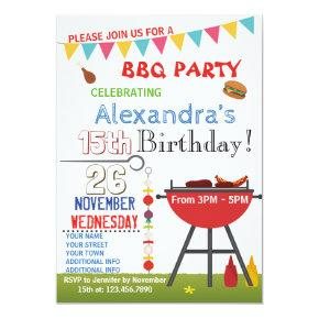 BARBECUE BIRTHDAY Invitations FOR SNUBODY