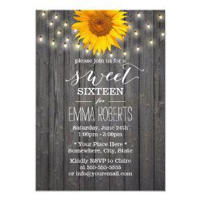 Barn Wood Sunflower & String Lights Sweet 16 Invitations