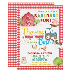 Barnyard 1st Birthday Party Cute Farm Animals Invitation