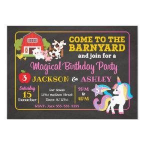 Barnyard and Unicorn Joint Birthday Invitation