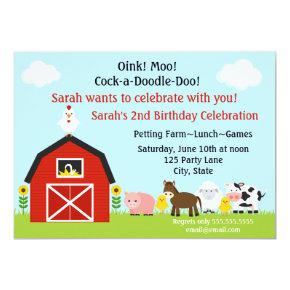 Barnyard Animals Birthday Invitation Personalized