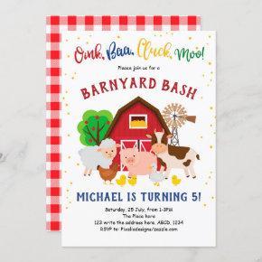Barnyard Bash, Farm Animals, Petting Zoo, Birthday Invitation