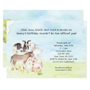 Barnyard birthday party invitation, baby animals card