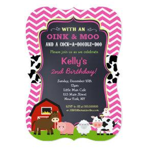 Farm Barnyard Animals 2nd Birthday Invitation Candied Clouds