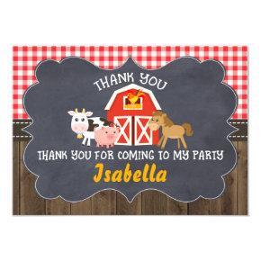 Barnyard Chalkboard Frame Birthday Thank You Card