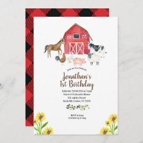 Barnyard Farm Animals 1st Birthday Invitation