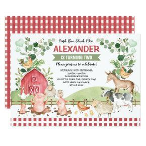Barnyard Farm Animals Greenery Birthday Party Invitation