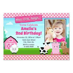 Barnyard Farm Birthday Girl Invitations Pink