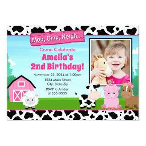 Barnyard Farm Birthday Girl Invitations Pink