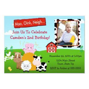 Barnyard Farm Birthday Invitation Photo Invitations