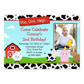 Barnyard Farm Birthday Invitation Photo