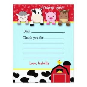 Barnyard Fill in the blank thank you note cards