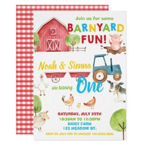 Barnyard Fun 1st Birthday Party Farm Animals Twins Invitation