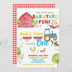Barnyard Fun 1st Birthday Party Farm Animals Twins Invitation