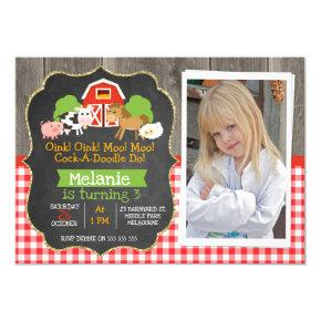 Barnyard Part Chalkboard Photo Birthday Invitation
