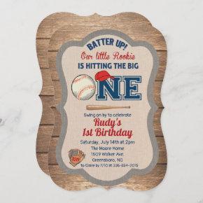 Baseball 1st Birthday Invitation