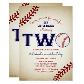 Baseball 2nd Birthday Invitation