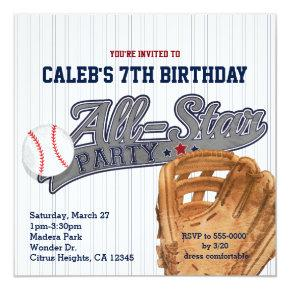 Baseball All Star Sports Striped Birthday Party Invitations