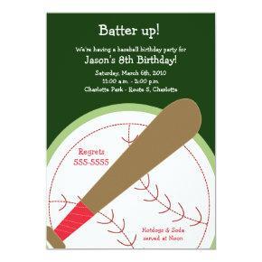 BASEBALL Batter Up Birthday Invitations