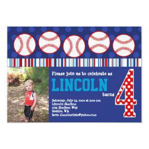 Baseball Birthday Invitations (4th Birthday)