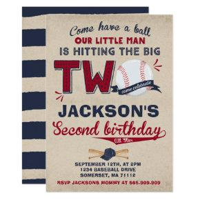 Baseball Birthday Invitation Baseball 2nd Birthday
