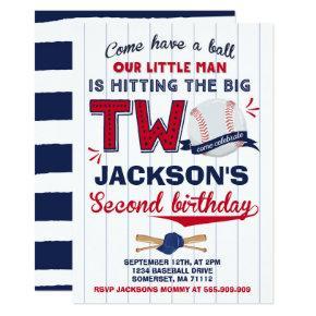 Baseball Birthday Invitation Baseball 2nd Birthday